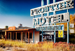 The Last Frontier (stvjackson) Tags: nikon2470mmf28 abandoned americana motel nikkor2470mmf28 nikon nikond700 route66 truxton architecture weathered faded oldsigns