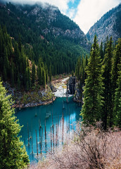 Kaindy Lake (free3yourmind) Tags: kaindy lake kazakhstan scenic scenery forest water sky blue clouds cloudy mountains
