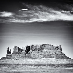 Butte, South of Mexican Water (Robert_Brown [bracketed]) Tags: robertbrown thesilvercityphotographer blackandwhite landscape arizona mexican water az desert dry arid butte rockformation clouds southwest instagram squareformat square