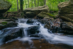 Water Crashing Over the Rocks of Croydon Creek (John Brighenti) Tags: maryland rockville croydon montgomery county park forest woods creek outdoors outside nature natural spring may damp wet rainy cloudy sony alpha a7rii ilce7rm2 nex ilce emount femount long exposure stream water rapids flow waterfall rocks snad dirt stones pebbles green