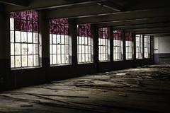 Painted Windows (jessicalowell20) Tags: kezarfallswoolenmill abadonned beams black brown floor industry maine mill newengland northamerica purple spring white windows adventure exploration