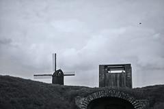 Skyline (RadarO´Reilly) Tags: heusden noordbrabant niederlande nl landschaft landscape windmühle windmill deich dijk dike diek sw bw blanconegro monochrome noiretblanc zwartwit