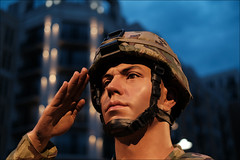 Not On My Watch, Sir (raymondclarkeimages) Tags: rci raymondclarkeimages 8one8studios flickr fujifilm mirrorless usa xseries outdoor google apsc xt3 xf35mmf2rwr helmet service military army salute statue replica figure noflash blur focus bokeh nationalharbor uniform realistic lifelike portrait soldier