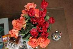 Tulips and Roses. And books. (Davydutchy) Tags: roas roos rose vstal tulp tulip tulipán bloem blume flower fleur květina bouquet straus boeket kytice table rolfbenz stephenking tatra april 2019