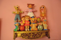 Vintage toy shelves in the dolly room! (Primrose Princess) Tags: vintage toys cute squeaky pink lapinwoodlanddoll japan vintagejapantoys dolls teddy bear poodle bunny cuteness vintagetoycollection