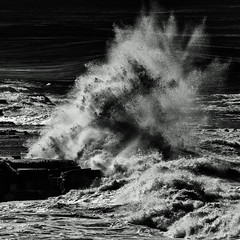Big Tuesday (OzzRod (on the wallaby)) Tags: pentax k3 hdpentaxdfa150450mmf4556 coast shoreline exploding wave swell spray surge monochrome blackandwhite square susangilmore newcastle dailyinmay2019