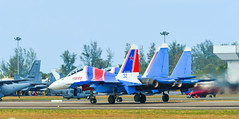 Su-30SM fighter jets taxiing on runway (phuong.sg@gmail.com) Tags: force aerobatics aerodrome air aircraft airfield airplane airshow army asia aviation demonstrate demonstration display expo fighter fuselage gear group holiday jet knights langkawi lgk lima machine malaysia military parking plane power russia russian russkie show sky speed su30sm sukhoi taxi team view wing