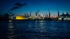 Production Line (Tom Levold (www.levold.de/photosphere)) Tags: fuji hamburg x100f harbour hafen wasser night ships blue schiffe water nacht blau
