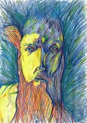 Blame it on Rembrandt (Selfportrait) (Moiret) Tags: selfportrait rembrandt light shadow colours coloured pencil drawing art crayon illustration self portrait moody early morning blame game dramatic lighting pen paper handdrawn freehand free yellow old classics remember remebering honour honouring masters master mastery paint painting reflection selfreflection inner introspection introspective