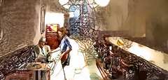 Cafetería (Homenaje a Hopper) (seguicollar) Tags: art arte artedigital texturas virginiaseguí imagencreativa photomanipulation cafeteria camarera cliente plátanos manzanasnaranja