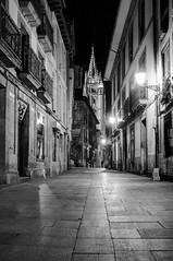 Hacia la Catedral (ccc.39) Tags: asturias oviedo calle ciudad noche nocturna cascoantiguo blancoynegro blackandwhite bn bw monochrome night street city urban
