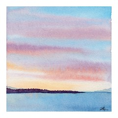 100 Days of Abstracts: 36/100 -- Edmonds Sunset (alisonleighlilly) Tags: allabstracts the100dayproject abstract abstractart square squareformat watercolor painting landscape sunset sound ocean sea pugetsound clouds
