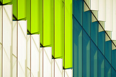 stairway to.. (♫ marc_l'esperance) Tags: teletakumar300mmf63 vintagelens takumar 300mm f63 preset legacy lens building geometry geometric abstract architectural abstraction modern architecture lines intersecting green white blue marclesperancephoto 2019 cml luxmaticcom vancouver bc canada construction facade