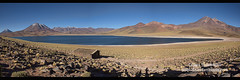 Panorama of Lake Miscanti on the altiplano, Atacama Desert, Chile (jitenshaman) Tags: travel worldtravel destination destinations southamerica latinamerica chile atacama sanpedrodeatacama nortegrande desert altiplano plains mountain mountains landscape landscapes scenery nature outdoors natural view vista colours colors colour color arid dry deserts rocks formations valley naturallandscape naturesbeauty beautiful desolate stark tourism touristattraction desertscape eerie moon wilderness miscanti lakemiscanti lagunamiscanti lake lakes water blue contrast panorama panoramic