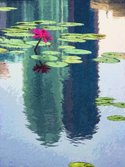 Reflected Towers (Steve Taylor (Photography)) Tags: digitalart impressionist building brown blue green red lake asia singapore flower waterlily ripple reflection