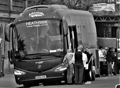 A Day at The Seaside. (ManOfYorkshire) Tags: 10837cc diesel engine heathside travel company coach bus irizar i6 integral brighton sussex seafront seaside er18zar grey loading boarding bw blackwhite