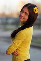Victoria (ivan_ko) Tags: portrait fujifilm x5pro nikkor af 85 18 young beautiful woman girl yellow black hair flower