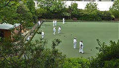 A Pleasant Sunday Afternoon. (ManOfYorkshire) Tags: bowls crown green bowling sunday pleasant meeting friendship sport skill hove sussex england gb uk foliage trees grass lawn