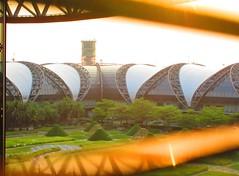 Bangkok Suvarnabhumi Airport, Thailand (jeffglobalwanderer) Tags: airport terminal airportarchitecture bangkokairport suvarnabhumiairport internationalairport modernarchitecture greenspace courtyard thai