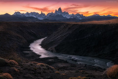The curve to El Chalten (Jirawatfoto) Tags: fitz roy argentina patagonia chalten mount el park national view beautiful nature sky travel sunrise landscape snow scenic scenery destination cerro mountain sunset blue outdoors tourism landmark fitzroy