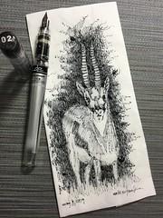 Gazelle (schunky_monkey) Tags: drawing draw sketching sketch napkin illustration art fountainpen penandink ink pen beauty camouflage fast animal gazelle