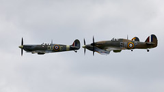 Spitfire & Hurricanes (Bernie Condon) Tags: vickers supermarine spitfire warplane fighter raf royalairforce fightercommand ww2 battleofbritian military preserved vintage aircraft plane flying aviation hawker hurricane uk british shuttleworth collection oldwarden airfield airshow display