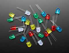Diffused 10mm LED Pack - 5 LEDs each in 5 Colors - 25 Pack (adafruit) Tags: 4204 leds diffusedleds