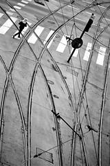 Crossing (Rosetta Bonatti (RosLol)) Tags: poland polonia rosettabonatti roslol krakow cracovia bw blackandwhite biancoenero lines tram street streetphotography woman candid