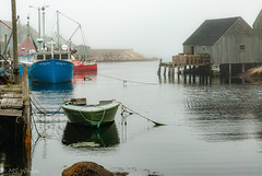 Living in the fog - Peggy's Cove, NS (Picture-Perfect Pixels) Tags: canada stmargaret'sbay nikon picturesque peggyscove novascotia fishingvillage water boats fog moody harbour seascape peaceful serene scenic buoyant