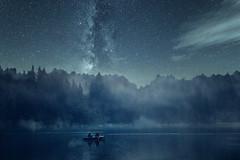 Nachts auf dem See (Gruenewiese86) Tags: 2016 6d canon landschaft roadtrip landscape milchstrase milkyway milky way night water lake germany langzeitbelichtung waldlandschaft tree wald wälder waldlandschaften sternenhimmel sterne stern harz harzlandschaft nebel fog foggy