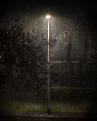 The Rain (andredekok) Tags: rain lamplight night evening texture wet dark streetlight