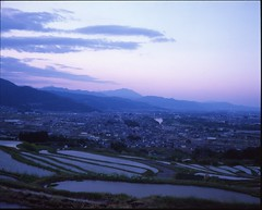 (✞bens▲n) Tags: mamiya 7ii velvia 50 80mm f4 film analogue 6x7 japan nagano obasute fields sky evening landscape mountains