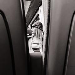 Lady on a Train (raymorgan4) Tags: lady pretty girl train rail journey candid blackandwhite monochrome hat blonde iphone iphone8