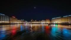 Half moon (karinavera) Tags: city longexposure night photography cityscape urban ilcea7m2 sunset geneve switzerland moon