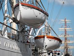Life boats of Dar Pomorza (Gift of Pomerania), Gdynia, Poland (msadurski) Tags: 35100 poland gdynia darpomorza tallship sailing lifeboats lumix gm5 vessel