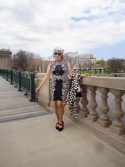 Not Exactly The Bridge Of Sighs, And Definitely Not Venice (Laurette Victoria) Tags: milwaukee bridge downtown woman laurette purse dress silver sunglasses