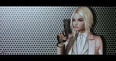 EVIL EYE (Xan Baran) Tags: 2ndlife secondlife hitman assassin suit hotdog hair ponytail blonde truth mesh lelutka aviglam glamaffair maitreya pose gun stand xans
