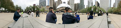 Running Table (panoramic photo) (spudart) Tags: 110tons 55nmichiganave 60603 attplaza anishkapoor chicago chicagobean chicagopublicart chicagosculpture cloudscape danpeterman illinois magnificentmile michiganavenue millenniumpark runningtable runningtablebydanpeterman usa art bean big built2004 cameraphone chicagoist cloudgate downtown huge iphone iphonepano large loop pano panorama panoramic picnictable polished popular publicart recycledmilkbottles sculpture shiny stainlesssteel sweepingview table thebean wideview