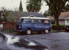 Sunnyvale, California (bior) Tags: pentax645nii pentax645 6x45cm ektachrome e200 kodakektachrome slidefilm mediumformat 120 sunnyvale street residential suburbs car microbus volkswagen transporter t3 bulli bluevan van