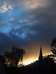 Stairway to stepple (guenther_haas) Tags: stepple neuulm silhouette petruskirche kirchturm kreuz stufen donaucenter stairs steps blue yellow blau gelb orange weiss himmel sky clouds wolken abend dawn sonnenuntergang sunset sundown olympus omd em5 mzuiko 1240mm f28 pro black petrusplatz