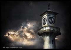 Dramatic lighthouse (Ade Ward Phototherapy.) Tags: sky moody light scenery nikon captainscott'smemorial roathlake birdsinflight birds lighthouse cardiff clouds dramatic