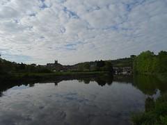 Wide spring sky (Phil Gayton) Tags: water grass tree meadow building sky cloud bridge boat river dart bridgetown totnes devon uk