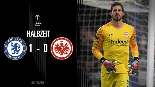 Eintracht Frankfurt - Europa League semi-final v Chelsea - Half-time score - Chelsea lead 2-1 on aggregate