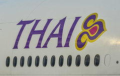 Thai Airways logo on aircraft body (phuong.sg@gmail.com) Tags: aeroplane air airline airplane airport airways asia asian aviation background body boeing business carrier company day famous flight industry international japan jet kansai logo macro modern plane popular purple still sunny thai thailand transport transportation travel trip waiting windows wing
