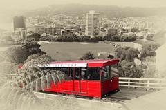 Wellington Cable Car (boeckli) Tags: wellington newzealand cablecar wellingtoncablecar selectivecolour selektivefarbe googlenik red rot outdoor view aussicht landscape city cityscape stadt 012449 rx100m6