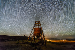 Gold Mine of Stars (Jeff Sullivan (www.JeffSullivanPhotography.com)) Tags: mine historic mining ghost town esmeralda county nevada usa abandoned rural decay night travel photography nikon d850 photos copyright jeff sullivan may 2019 star trails starstax astrophotography head frame hopper