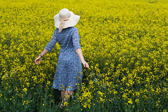 Into the Spirit of Spring (Simon Downham) Tags: spring field fields wild free natural spontaneous summer mat 2019 hat female lady dress blue yellow