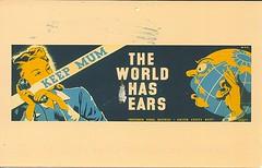 26 VolvoMom (Rocky's Postcards) Tags: keepmum thirteenthnavaldistrict globe woman phone tapping spying listening propaganda eavesdropping postcard volvomom telephone