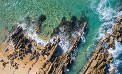 Striking seawards (OzzRod (on the wallaby)) Tags: dji phantom3advanced quadcopter drone vertical aerial coast shoreline headland rock outcrop strike sea waves cuttagee nswfarsouthcoast djifc300s