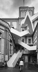discreetly adapted to the building structure (rainerralph) Tags: architektur stairway schwarzweiss blackandwhite warteck stair altebrauerei architecture sony fe401224g swiss a7r3 basel schweiz